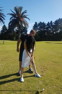 Golfing with topless girls