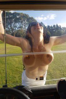 Topless Waitress Golfing